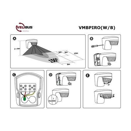 Velbus Velbus Zwarte bewegings-, schemer- en temperatuursensor voor buitenshuis