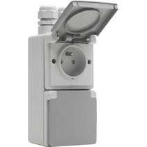 Waterbestendig dubbel stopcontact vertikaal grijs Niko 700-37730