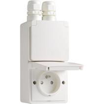 Waterbestendig dubbel stopcontact vertikaal wit Niko 701-37730