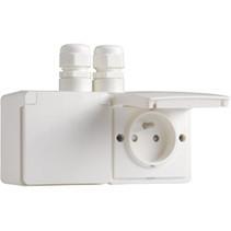 Waterbestendig dubbel stopcontact horizontaal wit Niko 701-37749