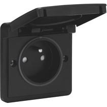 Splashproof socket outlet, black 761-36600