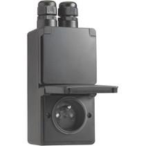 Waterbestendig dubbel stopcontact verticaal Zwart Niko 761-37730