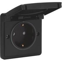 Waterbestendig stopcontact zwart met randaarde
