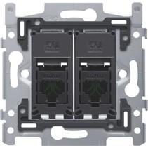 Sokkel tweevoudig RJ45 UTP Cat5e 170-65252 schroefbevestiging