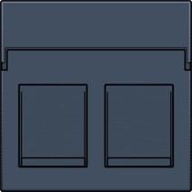 afwerkingsset, Alu Look Grey Steel , tweevoudige datacontactdoos, 220-65200
