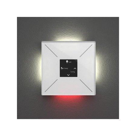 Velbus Velbus Edge Lit mat puur witte glazen bedieningsmodule met OLED