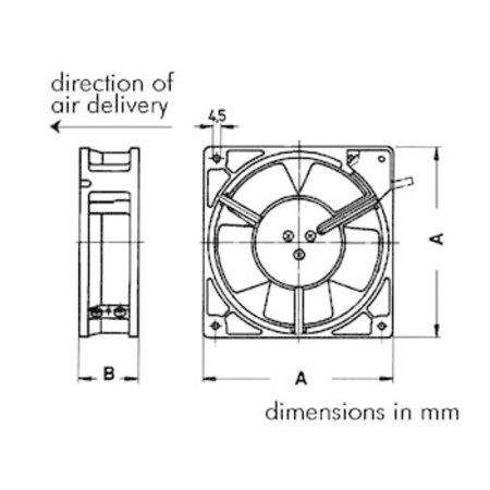 Ventilator 230VAC Kogellager 80 x 80 x 38mm