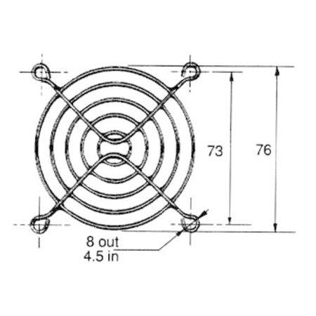 Rooster voor ventilator 80 x 80mm