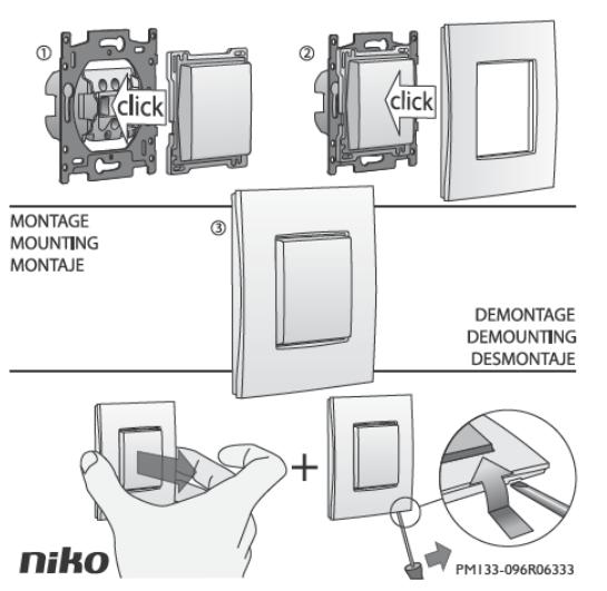 Montage Niko afwerkingset op een stopcontact