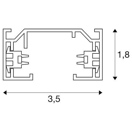 SLV 1-phase mounting rail, black