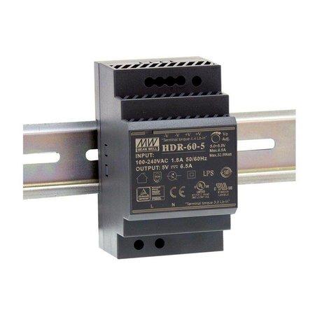 Meanwell 12VDC DIN rail power supply 60 Watt - 5A