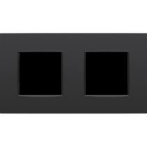 Tweevoudige afdekplaat horizontaal,  Intense zwart