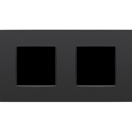 Niko Tweevoudige afdekplaat horiziontaal,  Intense zwart, 130-76800