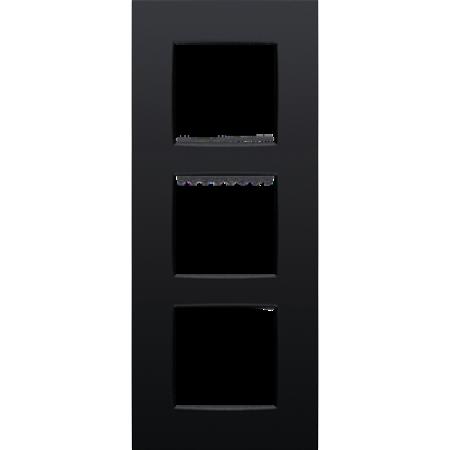 Niko Drievoudige afdekplaat verticaal,  Intense zwart, 130-76300