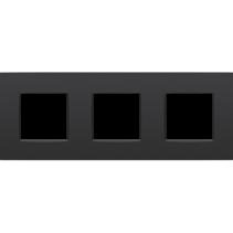 Drievoudige afdekplaat horizontaal,  Intense zwart