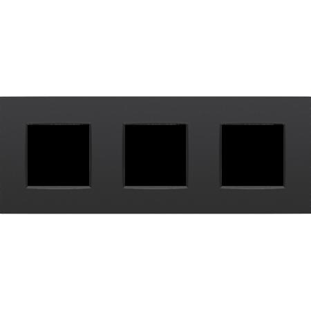 Niko Drievoudige afdekplaat horizontaal,  Intense zwart, 130-76700
