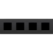 Viervoudige afdekplaat horizontaal,  Intense zwart