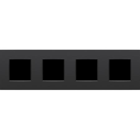 Niko Horizontal 4-fold cover plate, Intense matt black, 130-76400