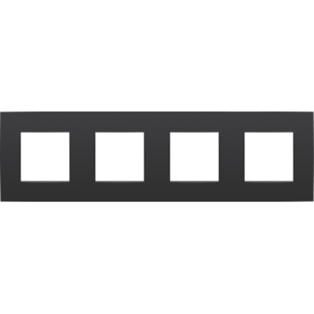 Niko Viervoudige afdekplaat horizontaal,  Intense zwart, 130-76400