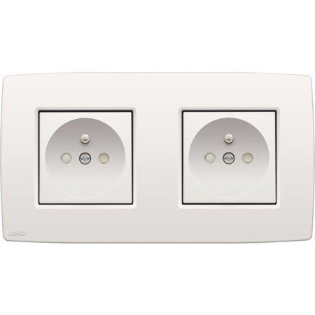 Niko Niko Double horizontal socket, white