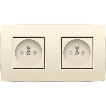 Niko Niko Double horizontal socket, cream