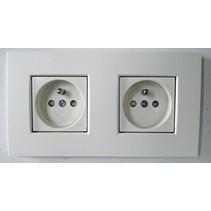 Dual horizontal socket, intense white