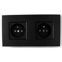 Tweevoudig stopcontact, intense mat zwart