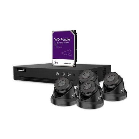 etiampro IP-videobewakingsset met 4 kanaals NVR recorder en 4 IP-Dome camera's