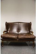 Retro Möbel 4 er Ledercouch im Look einer Anwaltskanzlei