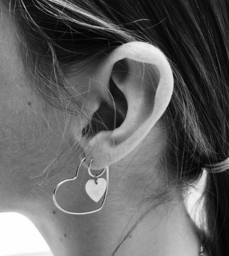 fashionoligy Love Hoop Earring Silver