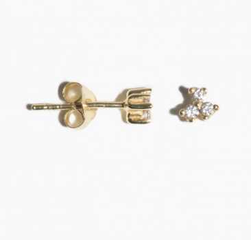 fashionoligy Clear quartz tripple dot earpins gold