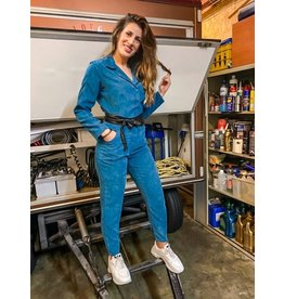 House of Chambers jumpsuit blue corduroy
