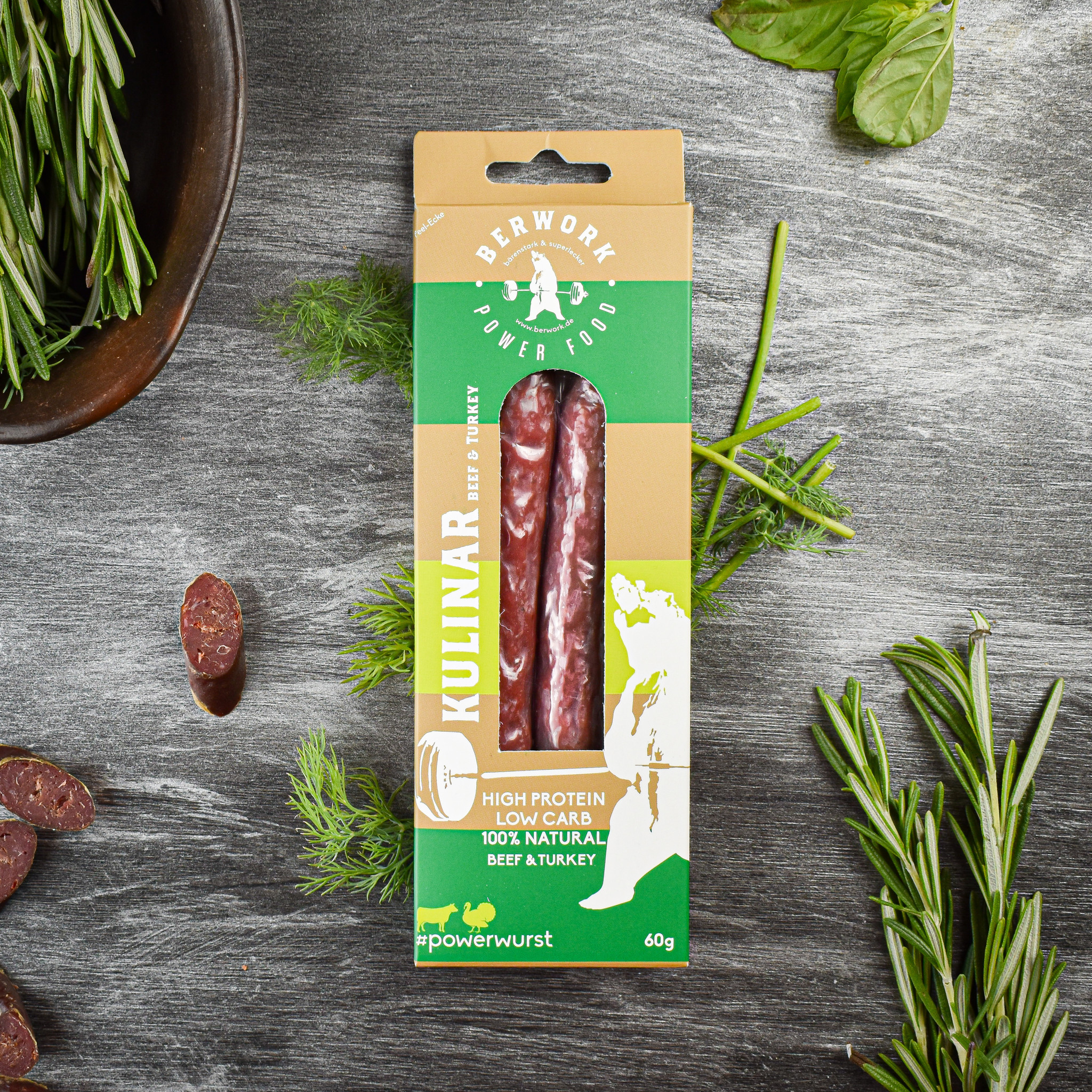 berwork Power sausage Kulinar Beef-Turkey meat (60g)