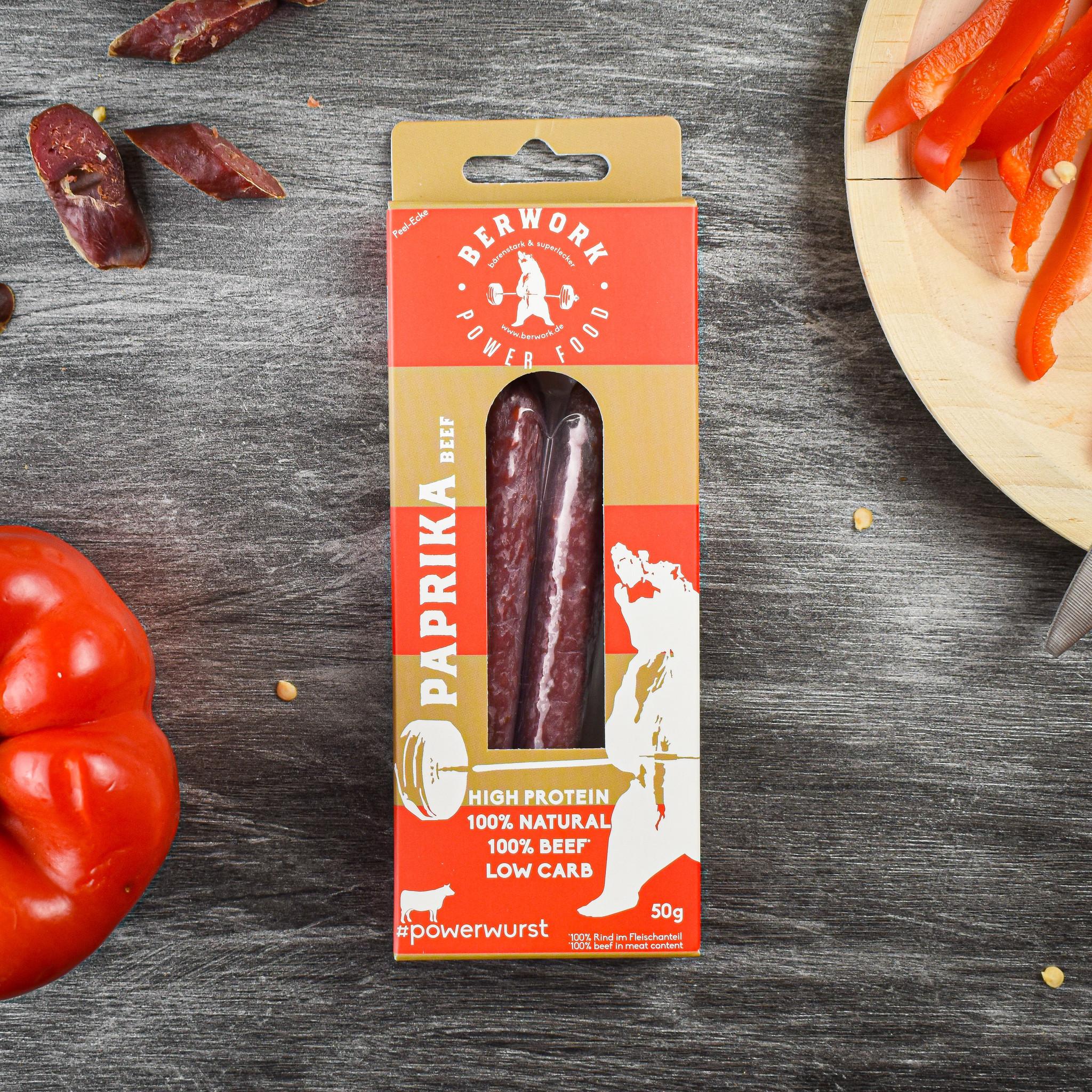 berwork Power sausage Paprika Beef (50g)