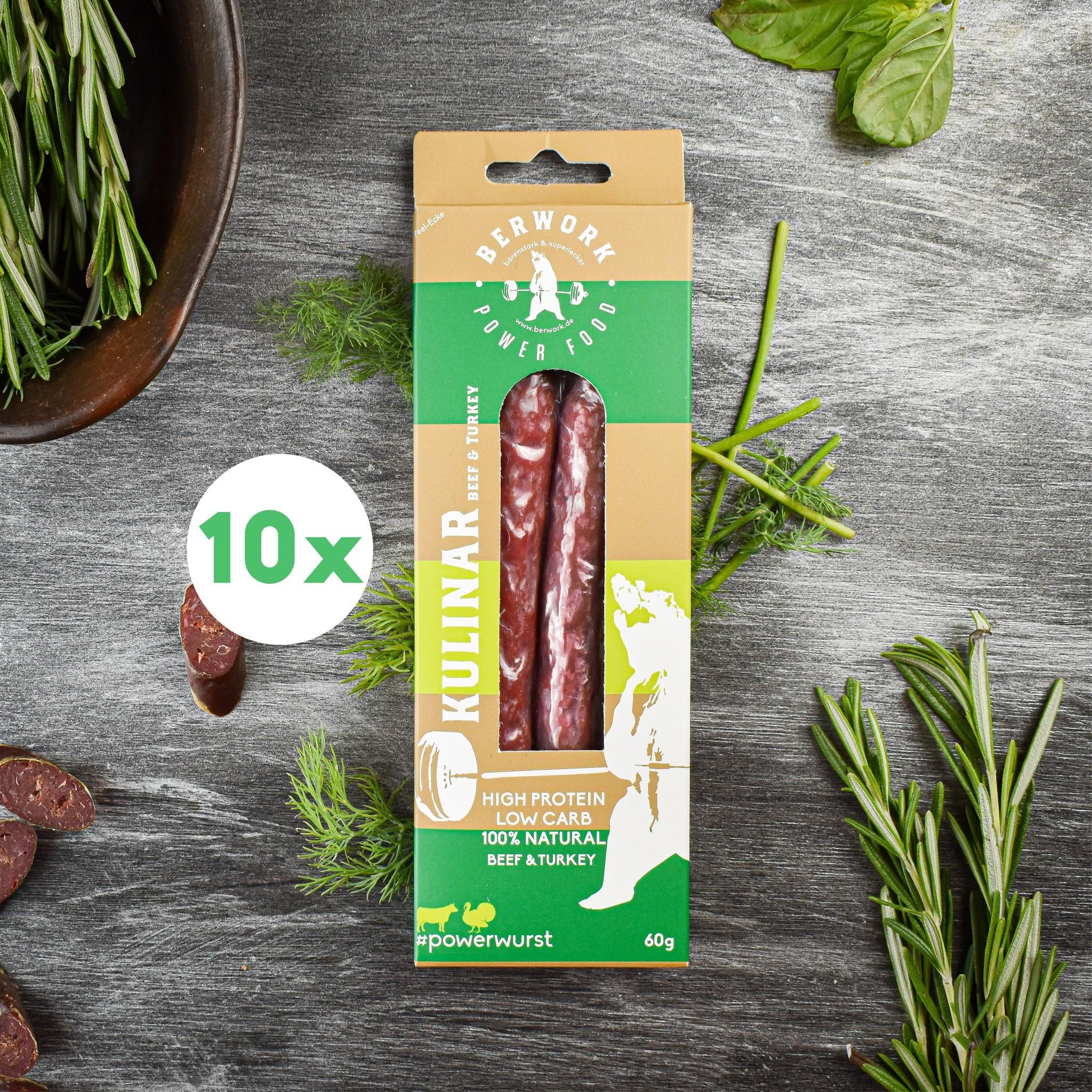 berwork Powerwurst Kulinar Rind-Putenfleisch 10er Bundle (600g)