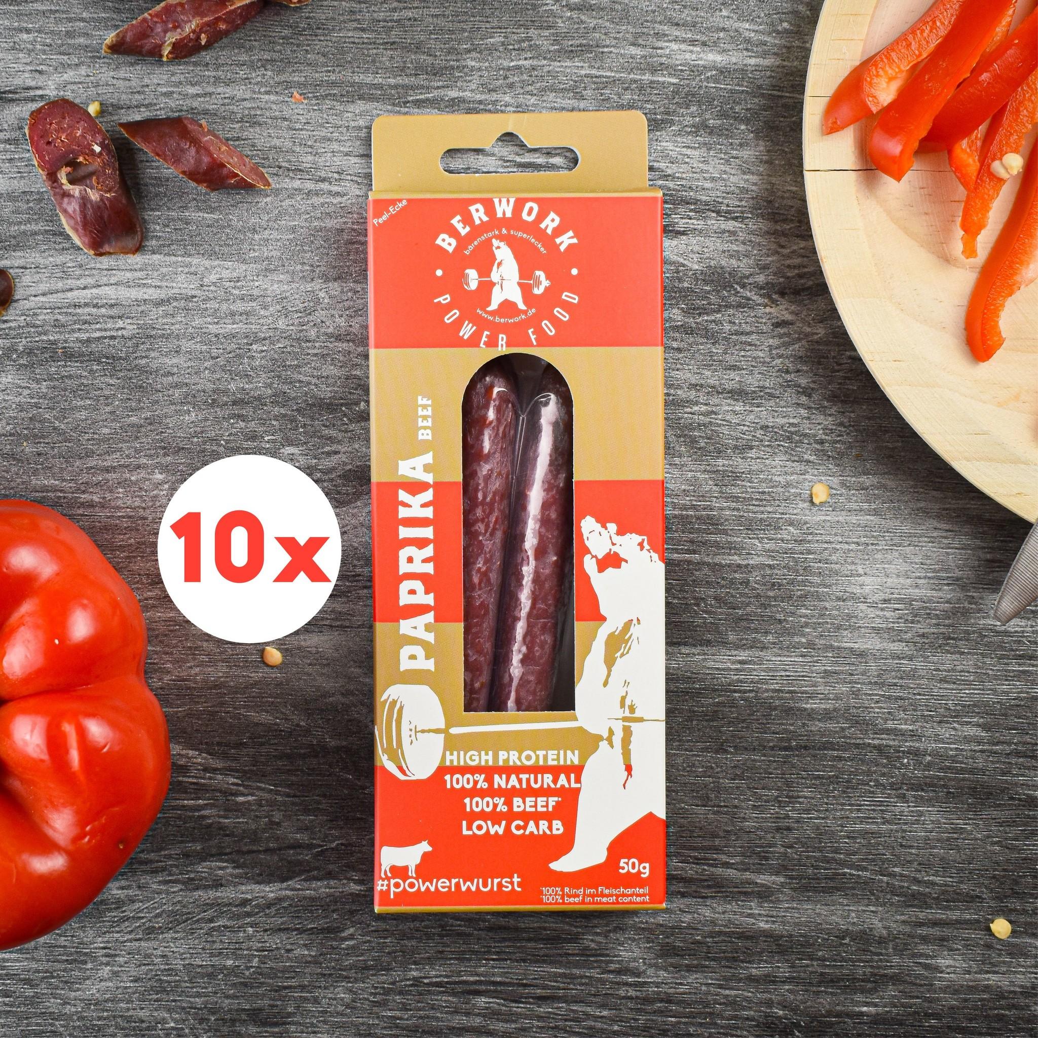 berwork Powerwurst Paprika Storage Pack Beef (500g)