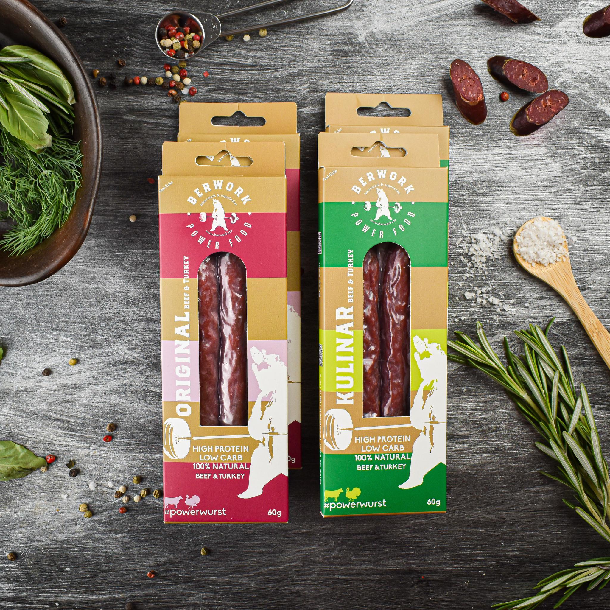 berwork Power sausage Beef-Turkey meat Trial Pack XL (240g)