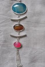 Pendant halsketting  handgemaakt met echt stenen