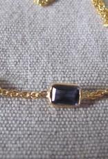 Halsketting goud op zilver en  Ioliet stenen