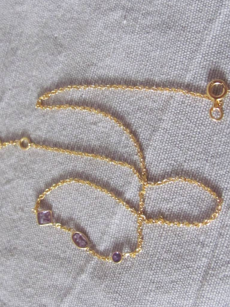 Necklace gold on silver with hand cut amethyst stones