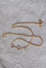 Halsketting goud op zilver met  hand cut amethist stenen