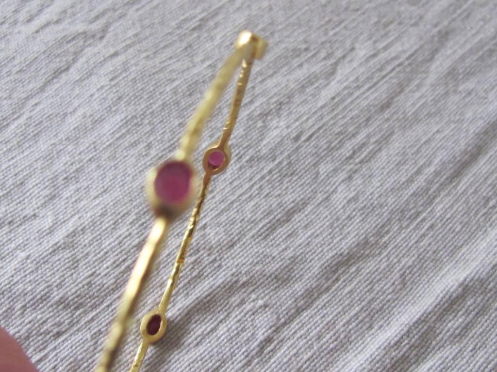 Armband goud op zilver robijn