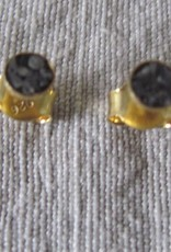 Ear stud gold on silver with diamond chips