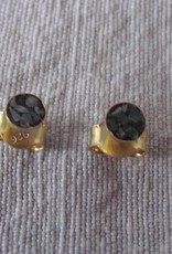 Oorstekker goud op zilver met diamant chips