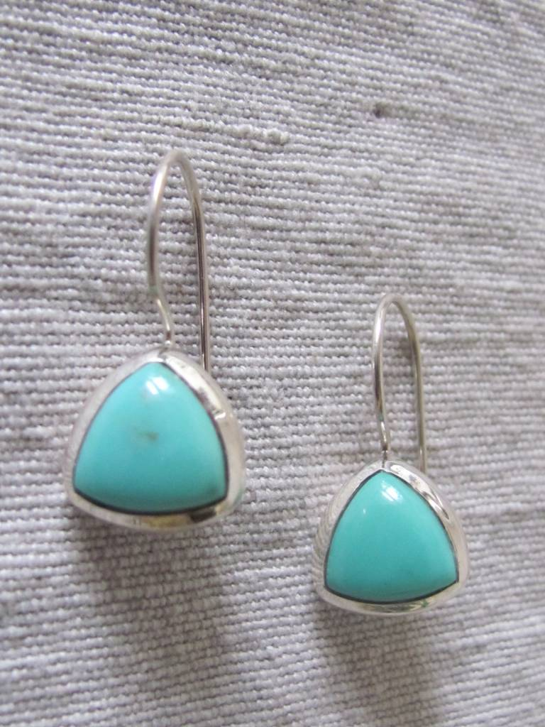 Earring silver with  Persian turquoise  dormeuse