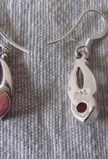 Zilver oorbel  met rhodocrosiet