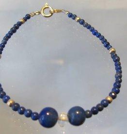 Armband zilver lapis lazuli