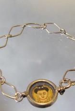 Bracelet silver chain with Buddha medallion
