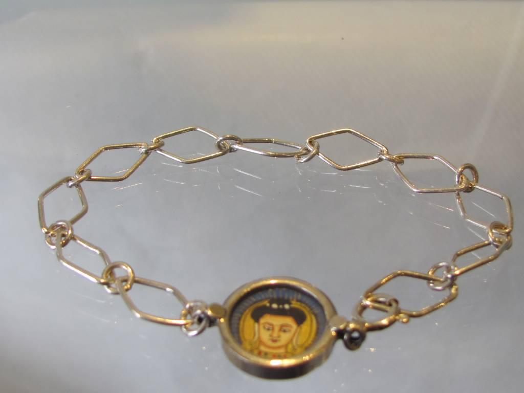 Armband van zilveren schakels met Boeddha medaillon