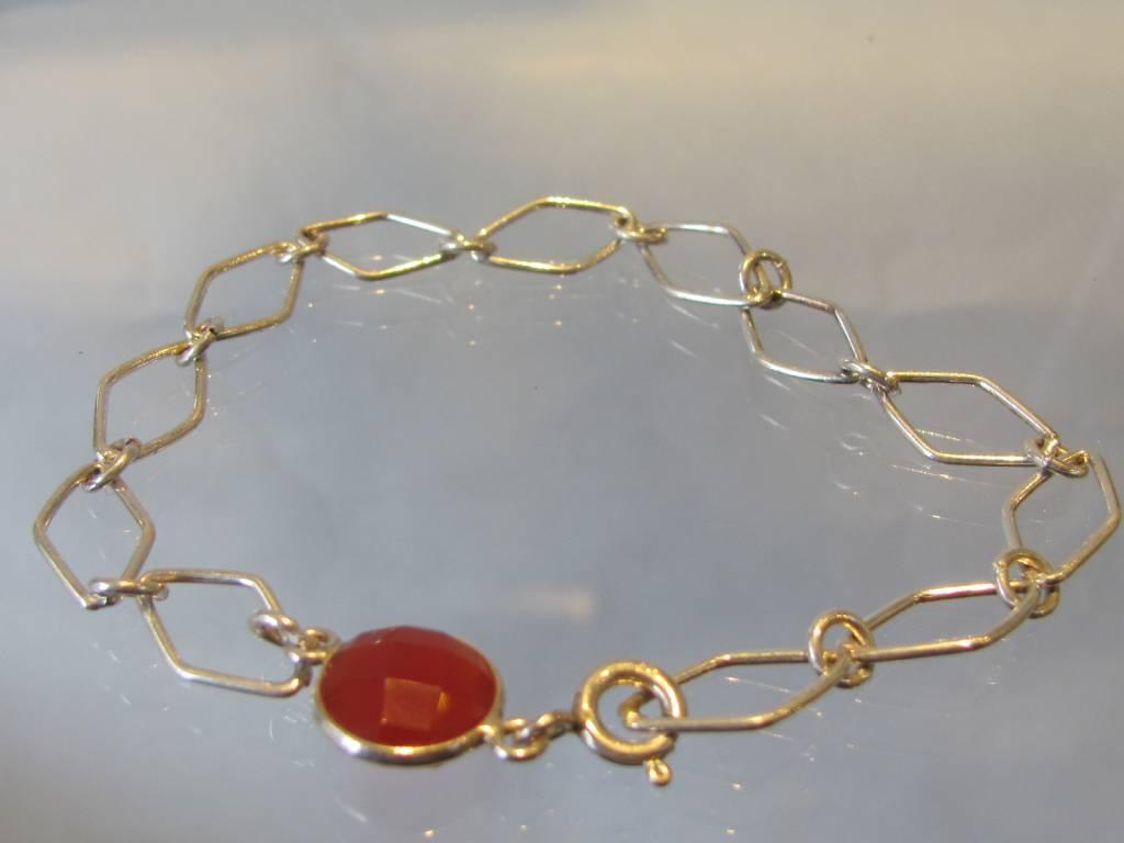 Armband zilver kornalijn